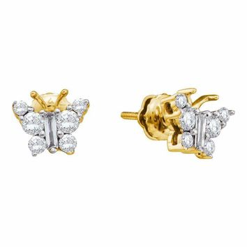 14kt Yellow Gold Women's Baguette Diamond Butterfly Bug Earrings 1-2 Cttw - FREE Shipping (USA/CAN)