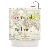 "Catherine Holcombe ""To Travel Is To Live"" Color Map Shower Curtain"
