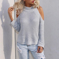 Light Grey Cut-out Shoulder Ribbed Knitted Sweater