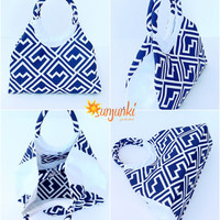 Tote Bag, Blue Beach Comber Bag, Expandable Hand Bag, Carryall Purse, Beach, Diaper Bag, Carryall, Rucksack,