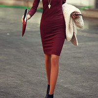 Wine Red Long Sleeve Simple Style V-Neck Dress