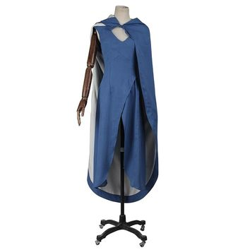 Film Game of Thrones Daenerys Targaryen Cosplay Costume Blue Dress Cloak Holloween A Song of Ice and Fire Movie Cosplay Clothing