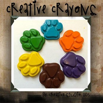 PAW PRINTS - shaped crayons - birthday party favors - baby shower favors - valentines day