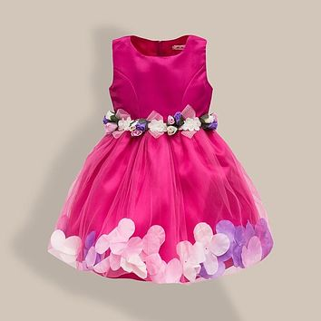Kids Girls Flower Petals Dress Children Bridesmaid Toddler Elegant Dress Pageant Wedding Bridal Tulle Formal Party Dress