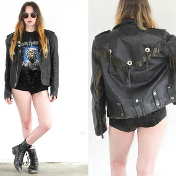 Vintage HARLEY DAVIDSON Fringe Motorcycle Leather Jacket // Tassel Concho // Boho Gypsy Hipster Biker // Small / Medium / Large