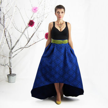 Maxi Skirt, High Low Skirt, Blue Jacquard Skirt, Plus Size Maxi Skirt with Pockets, Long A-line Skirt, High-waisted Skirt, Bridesmaid Skirt