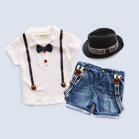 Boys Summer 3 Piece Shorts Shirt with Hat