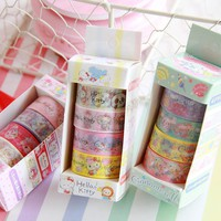 Japanese Washi Tape Kawaii Cartoon My Melody Hello Kitty PEKO Decorative Tapes Scrapbook Paper Masking Tape 4 pieces/set