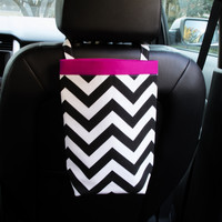 Car Trash Bag ~ Black Chevron ~ Hot Pink Band ~ Headrest Handle ~ Oilcloth Lining