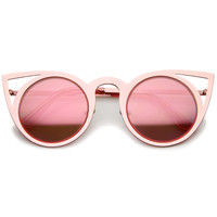 Women's Laser Cut Mirrored Lens Cat Eye Sunglasses A410