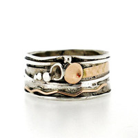 Handcrafted Silver & Gold Ring, Unique Design by Amir Poran, Made In Israel