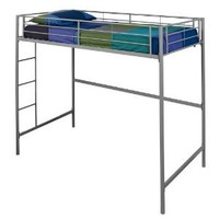 WE Furniture Metal Loft Bunk Bed, Twin, Silver