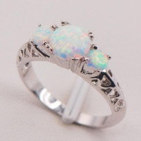 White Fire Opal 925 Sterling Silver Plated Fashion Jewelry Ring Size 6 7 8 9 10 11 (With Thanksgiving&Christmas Gift Box)[6259553540]