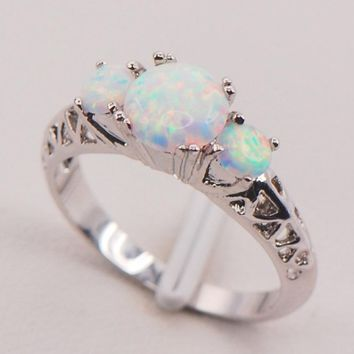 White Fire Opal 925 Sterling Silver Plated Fashion Jewelry Ring Size 6 7 8 9 10 11 [7573005510]
