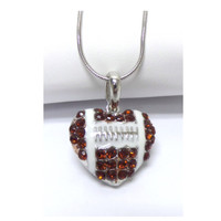 Crystal Accented Puffy Heart Football Pendant Necklace