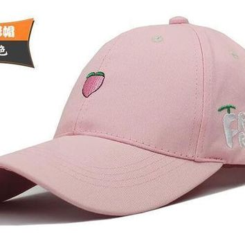Hat Fruit Embroidered Baseball Cap Summer  Shopping Korean Leisure Wild Sun Hat Pink