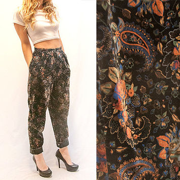 90s High Waisted Black Velvet Pants - Womens Paisley Parachute Pants | Tapered Slacks Hammer Pants Funky Hip Hop Business Casual Dress Pants