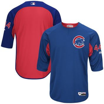 Men's Chicago Cubs Anthony Rizzo Majestic Royal Authentic Collection On-Field 3/4-Sleeve Player Batting Practice Jersey