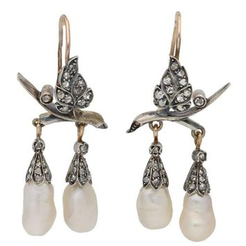 1860s Antique Natural Pearl Diamond Silver Gold Earrings