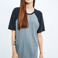 Sparkle & Fade Half Sleeve Baseball Top in Grey - Urban Outfitters