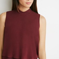 Layered Crepe Mock Neck Top