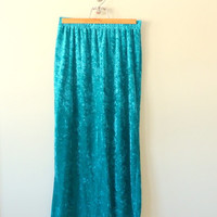 Vintage 90s Skirt Crushed Velvet Skirt Midi Skirt Maxi Skirt 1990s Skirt Soft Grunge Skirt Club Kid Teal Green Goth Skirt M Medium