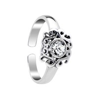 Sterling Silver 925 Clear CZ Princess Leaf Toe Ring