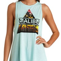 BACK CUT-OUT MALIBU GRAPHIC MUSCLE TEE