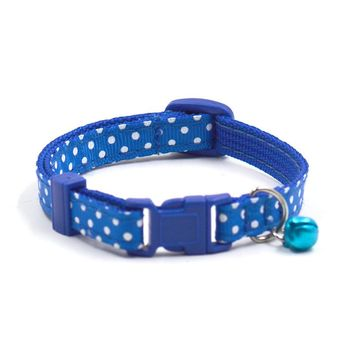 Small Cute dot Pet cat dog collars with Bell multi color puppy kitten strap collar round neck accessory