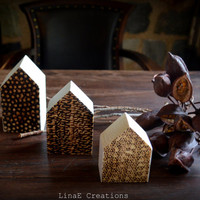 Woodburned houses trio, little wood houses, fall winter home decor