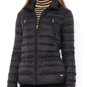 LAUREN RALPH LAUREN QUILTED DOWN PUFFER JACKET BLACK