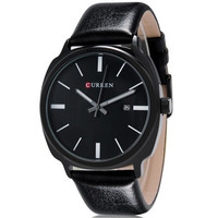 CURREN 8212 Men's Round Analog Wrist Watch with Calendar & Faux Leather Band