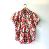 20% OFF SALE Vintage floral shirt. Short sleeve button up shirt. Preppy tee shirt. Pocket T.