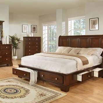 dark cherry storage king bedroom set by lifestyle furniture