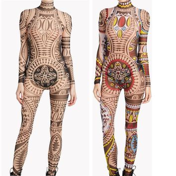 Plus Size Women Tribal Tattoo Print Mesh Jumpsuit Romper Curvy African Aztec Bodysuit Celebrity Catsuit Tracksuit Jumpsuit