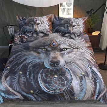 Cool 3D Wolf Print Bedding Set Duvet Cover Set Luxury Modern Quilt King Queen Twin Bedclothes Home Decor 1x Duvet Cover 2x PillowcaseAT_93_12