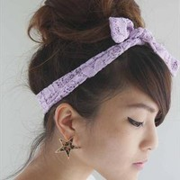 Lilac Lace Hair Bunny Bow from Kookii Boutique