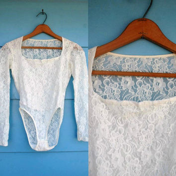 1990s. sheer lace long sleeve body suit. s