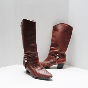 Vintage Boots 80s Shoestring Burnt Orange Brown Woven  Cowboy Boot Style Knee Boots Size 7 1/2 7.5