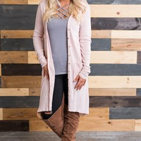 Button Me Up Long Sleeved Cardigan (Blush)