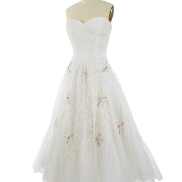 50s Strapless Sequined Embroidered White Tulle Gown