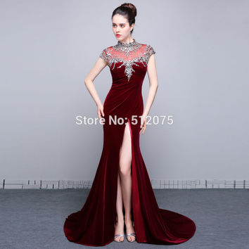 Real Photo Fashion High Neck Cap Sleeves Velour Mermaid Long Prom Dresses 2016 High Slit Beaded Floor Length Prom Dress SML35
