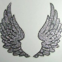 Crystal Silver Tone Plastic Rhinestone Angel Wing Design Car Decal Sticker