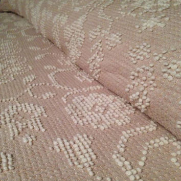 New Vintage Taupe/Tan/Beige and White Hobnail Chenille Bedspread with Pom Poms