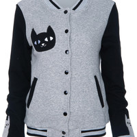 ROMWE | Cat Face embroidered Grey Jacket, The Latest Street Fashion
