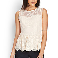 FOREVER 21 Floral Lace Peplum Top Champagne