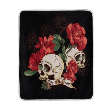 Day of the Dead Red Flower Sugar Skull Black Blanket Soft Warm Cozy