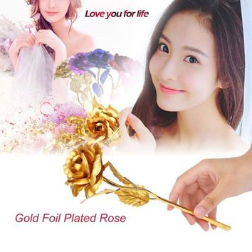 24k Gold Foil Plated Rose Creative Gifts Lasts Forever Rose with LOVE Base for Lover's Wedding Christmas Decor with Retailed Box