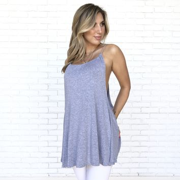 Split Path Jersey Top in Grey