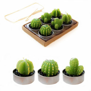 6 piece mini cactus candle set, tealight garden, cactus decor, party candles, cactus candles
